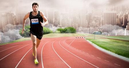 Digital composite of Digital composite image of sport runner running on tracks against city Stock Photo