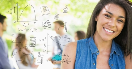 Digital composite of Digitally generated image of various equations with smiling female college student in background Imagens