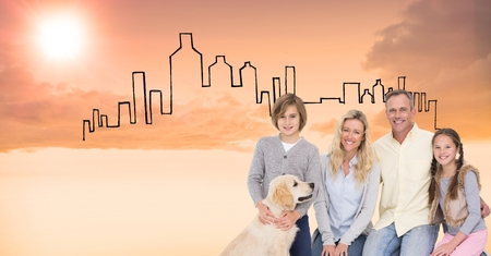Digital composite of Digital composite image of happy family with dog against drawn buildings