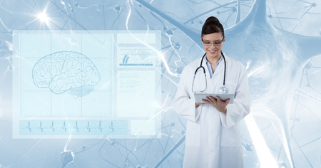 infectious disease: Digital composite of Digital composite image of doctor using tablet PC with screen in foreground