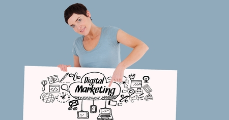 dark haired woman: Digital composite of Woman pointing at digital marketing text and signs on bill board