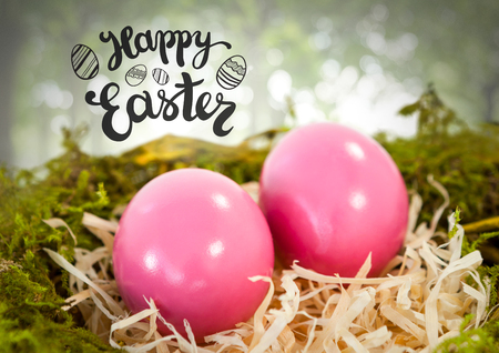 Digital composite of Happy Easter text with Easter eggs in nest in forest