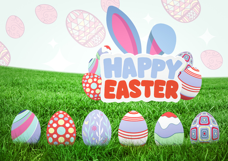 Digital composite of Happy Easter text with Easter eggs on grass with pattern