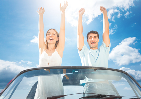 Digital composite of Couple having fun in the car Stock Photo