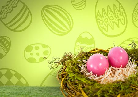 Digitale samenstelling van paaseieren in nest voor patroon