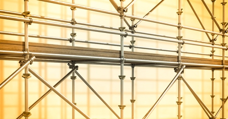 building site: Digital composite of 3D grey scaffolding whit soft yellow background