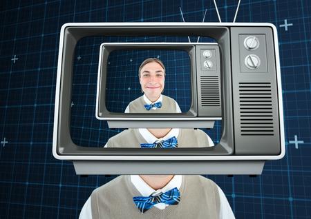 テレビ頭幸せフリーク男性のデジタル合成