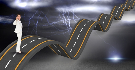 Digital composite of Confident businesswoman on wavy road during thunderstorm Stock Photo