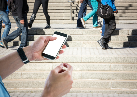 staircases: Digital composite of Men hands with phone in stairs