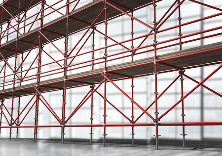 building site: Digital composite of 3D red scaffolding in diagonal taking up all the image.