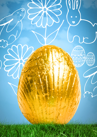 reflection of life: Digital composite of Easter egg in front of pattern Stock Photo