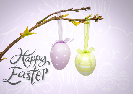 Digital composite of Happy Easter text with Easter eggs hanging on branch in front of pattern