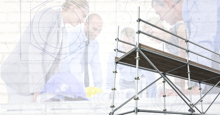 smolder: Digital composite of 3D scaffolding with architects and blueprint background Stock Photo
