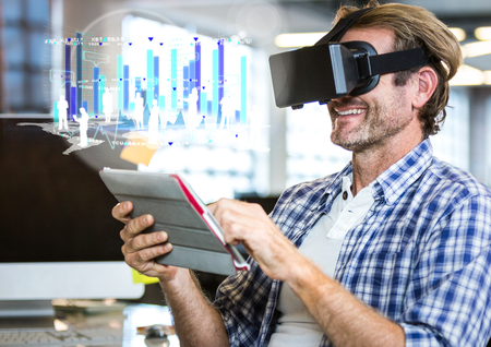 Digital composite of Man wearing VR Virtual Reality Headset with Interface