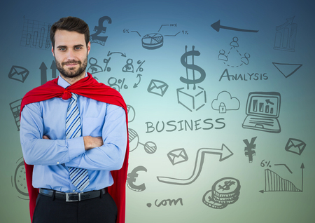 folded arms: Digital composite of Business man superhero with arms folded against blue green background with business doodles