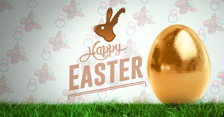 Digital composite of Happy Easter text with Easter egg in front of pattern Stock Photo