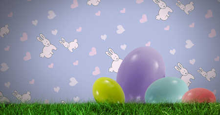 top animated: Digital composite of Easter eggs in front of pattern