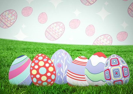 grass blades: Digital composite of Easter eggs on grass with pattern