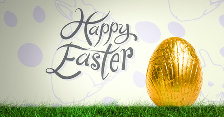 reflection of life: Digital composite of Happy Easter text with Easter egg in front of pattern Stock Photo