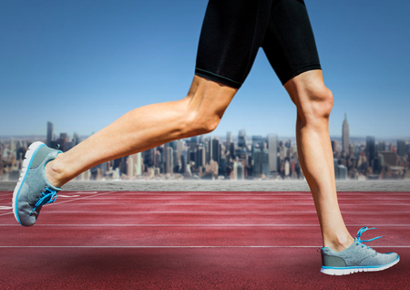 Digital composite of Runner legs on track against skyline