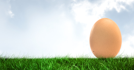 Digital composite of Egg in front of blue sky Stock Photo