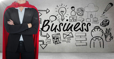 female likeness: Digital composite of Business man superhero opening shirt against grey wall with business doodles and flare Stock Photo