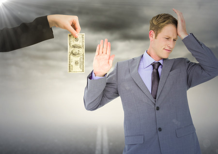 Digital composite of Business man refusing money against road and stormy sky with flare