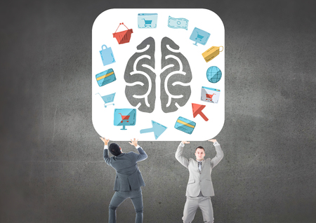 upward struggle: Digital composite of Business mans carrying the brain with the graphic about purchasings and sales