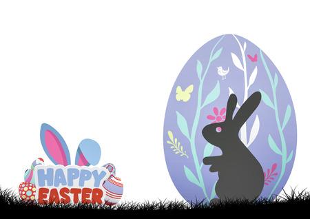 Digital composite of Rabbit in purple egg. Happy Easter