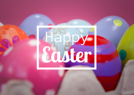 touch sensitive: Digital composite of White type in box against easter eggs and pink background Stock Photo