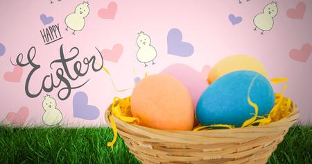 Digitale composiet van gelukkige Pasen tekst met Pasen eieren voor patroon