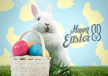 Digital composite of Happy Easter text with Easter rabbit with basket in front of pattern