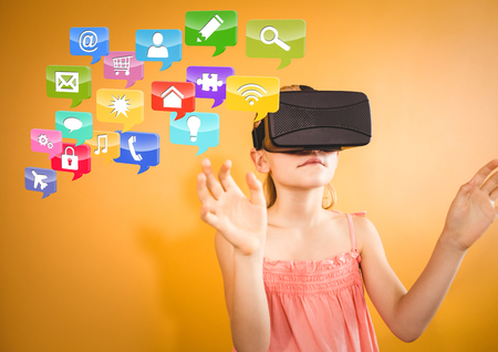 Digital composite of Girl wearing VR Virtual Reality Headset with Interface Stock Photo