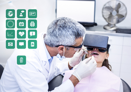 eyewear: Digital composite of Dentist patient wearing VR Virtual Reality Headset with Interface