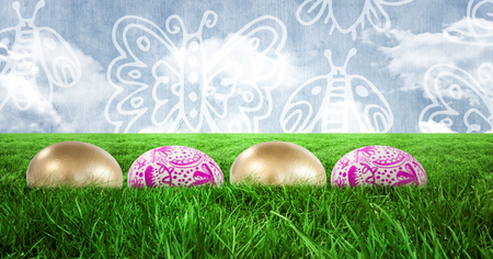 Digital composite of Easter eggs in front of pattern