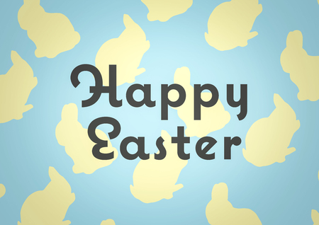 Digital composite of Grey type against blue and yellow easter pattern
