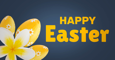 Digital composite of Yellow type and yellow flower and eggs against navy easter pattern