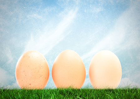 immovable: Digital composite of Eggs in front of blue sky