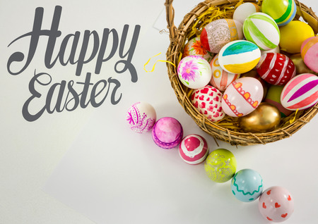Digital composite of Grey easter graphics with eggs on table and in basket