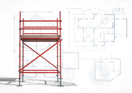 Digital composite of 3D red scaffolding with white and blueprint background Stok Fotoğraf