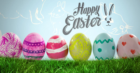 uncomfortable: Digital composite of Happy Easter text with Easter Eggs in front of Rabbit pattern