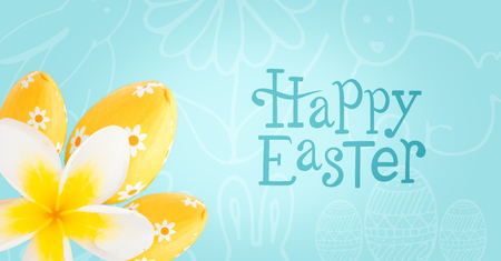 clenching: Digital composite of Blue type and yellow flower and eggs against blue easter pattern Stock Photo