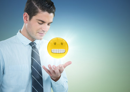 tranquility: Digital composite of Business man with hand open and emoji with flare against blue green background