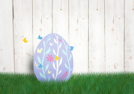 Digital composite of Purple egg with butterfly in the garden. happy Easter