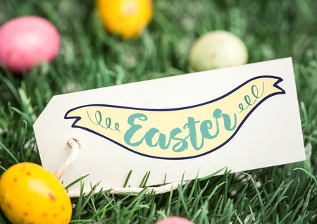 Digital composite of Eggs in grass with label and easter graphic