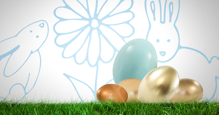 Digital composite of Easter Eggs in front of pattern Stock Photo