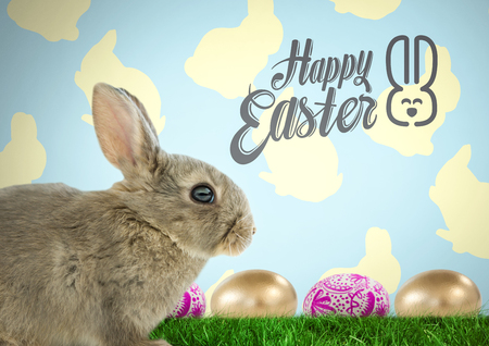 Digital composite of Happy Easter text with Easter rabbit with eggs in front of pattern Stock Photo