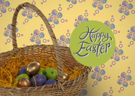 folded paper: Digital composite of Happy Easter text with Easter eggs in basket in front of pattern