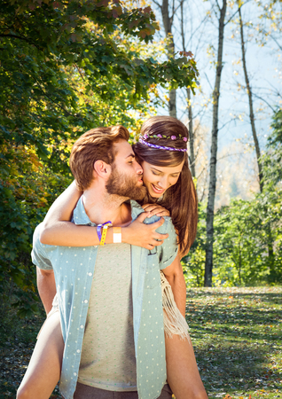 Digital composite of Couple in the mountain. Kiss