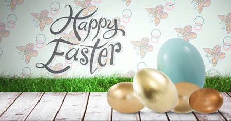 grass blades: Digital composite of Happy Easter text with Easter eggs in front of pattern